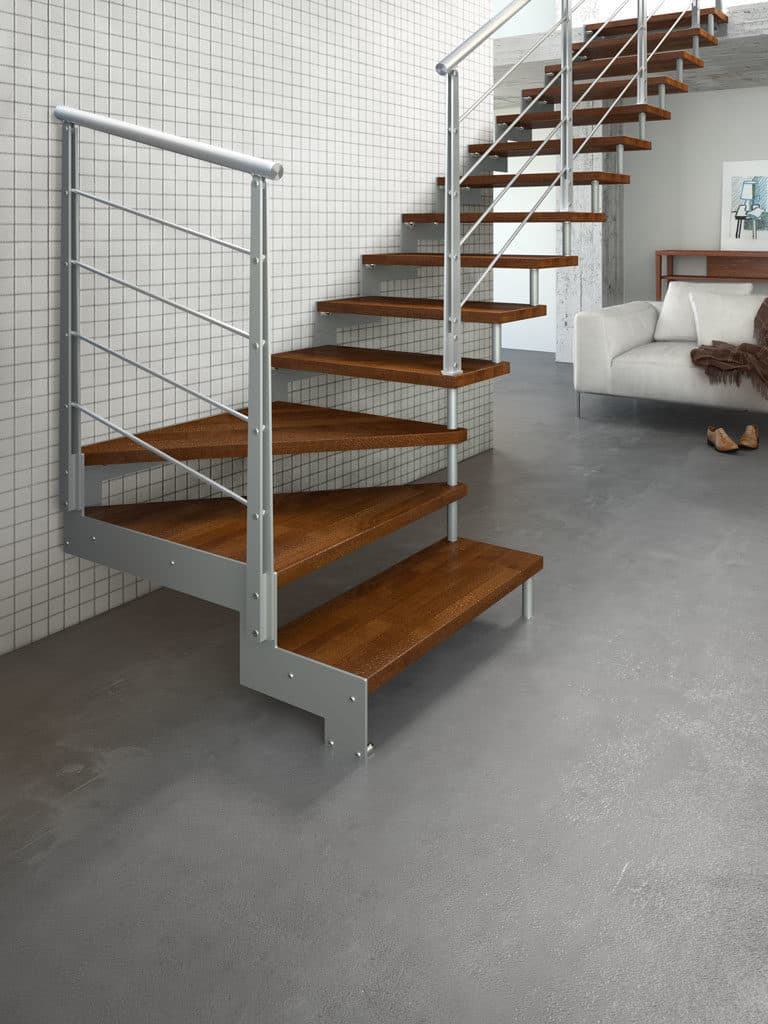 escalier bois et métal quart tournant très design