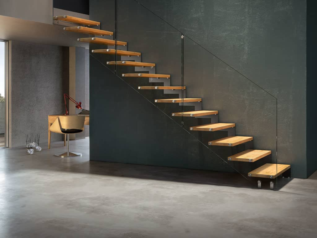 escalier droit en métal et bois