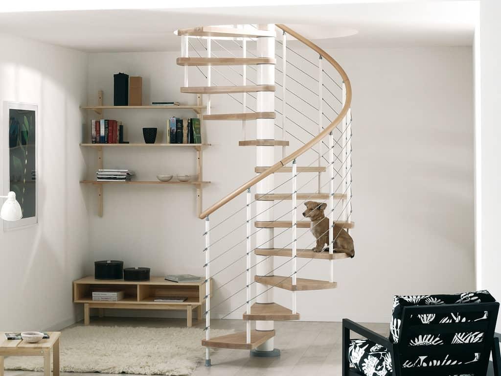 escalier tournant en bois et métal en kit