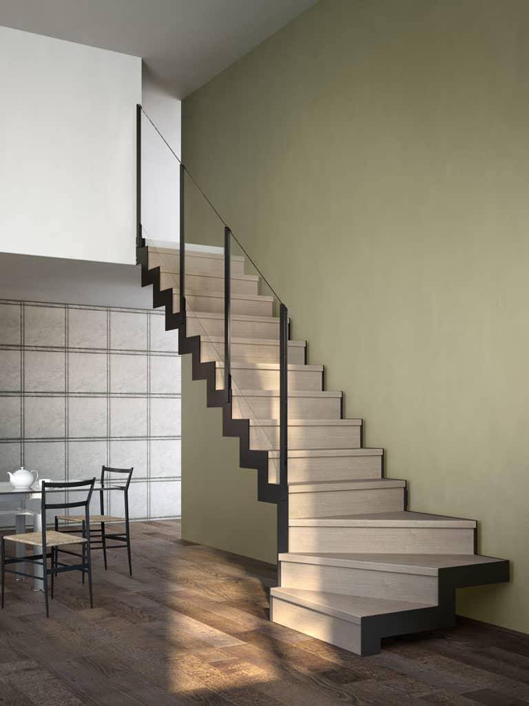 escalier tendance en limon sentral métal et avec marche en bois