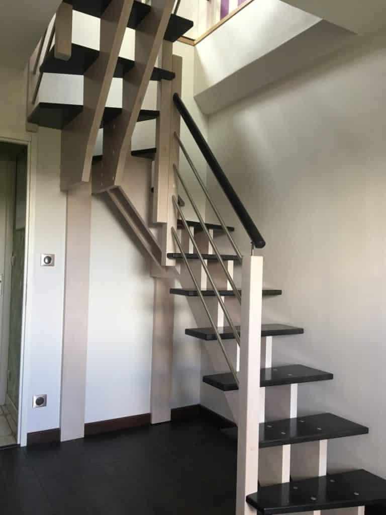 escalier avec double limon en bois