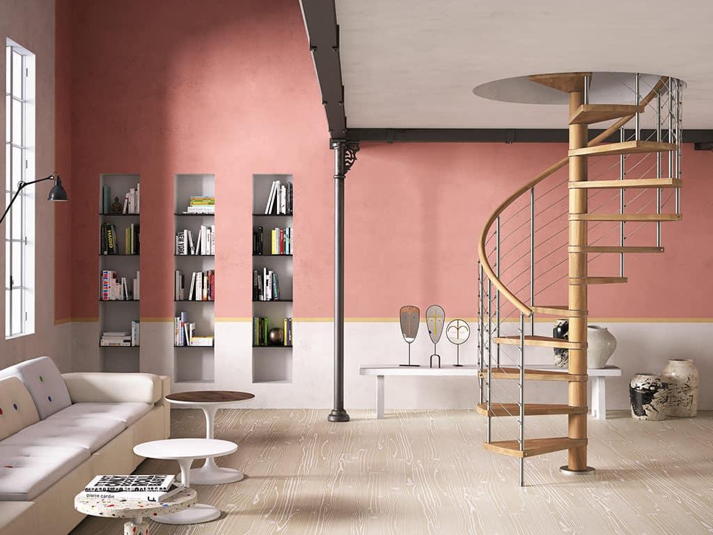 escalier en bois tournant et rampe en inox