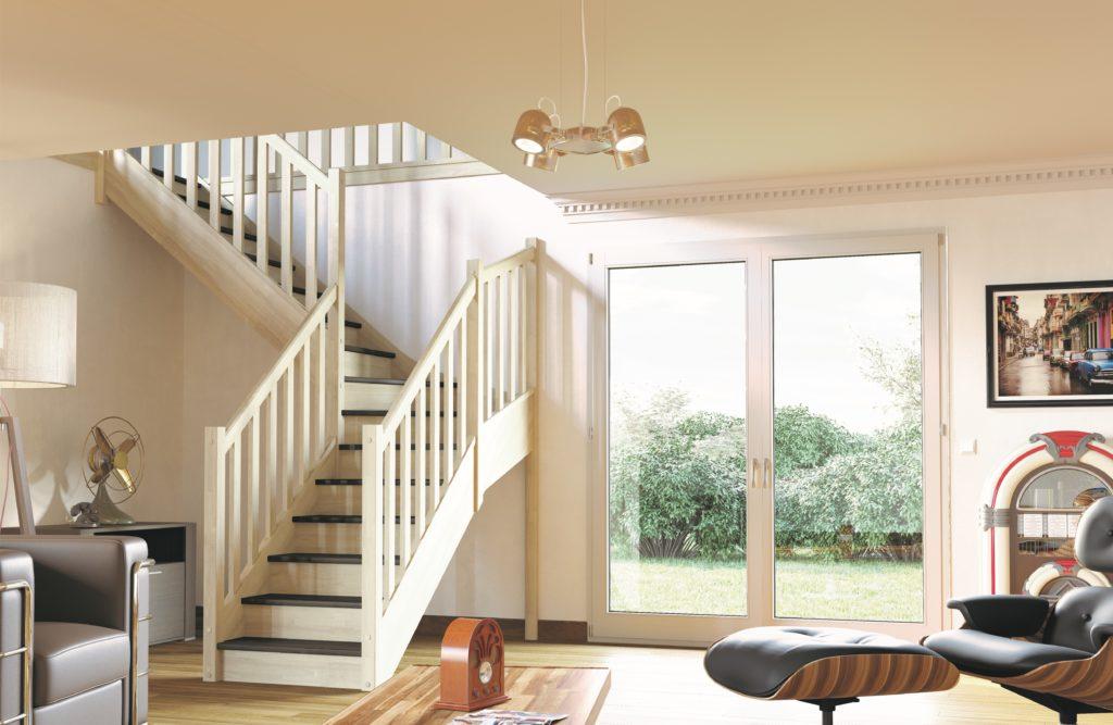 escalier en bois et blanc