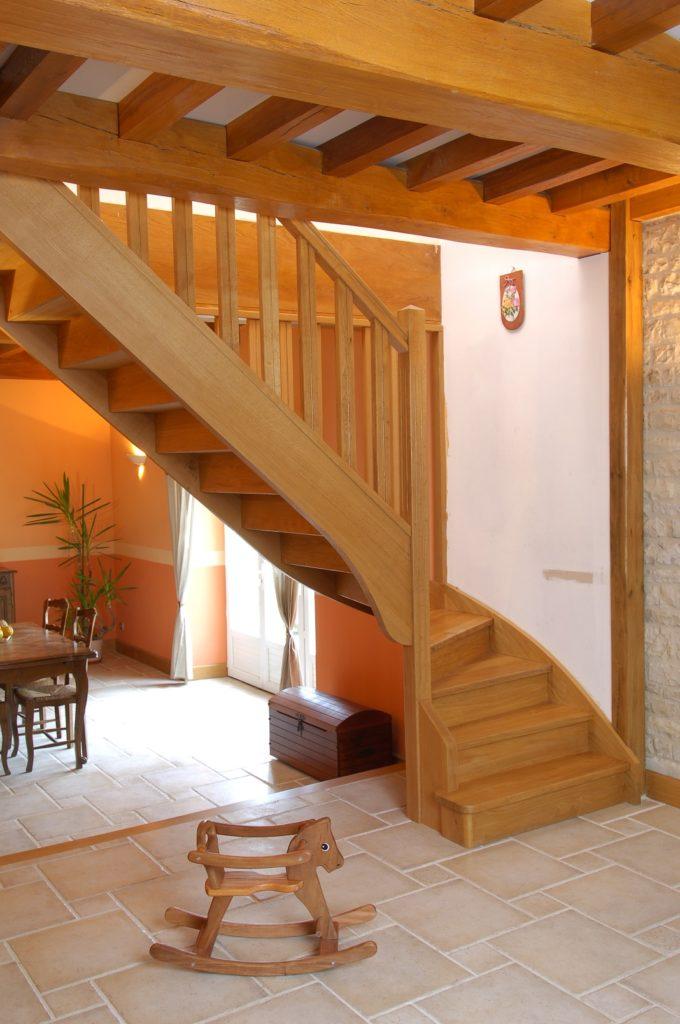 escalier avec limon central en bois design