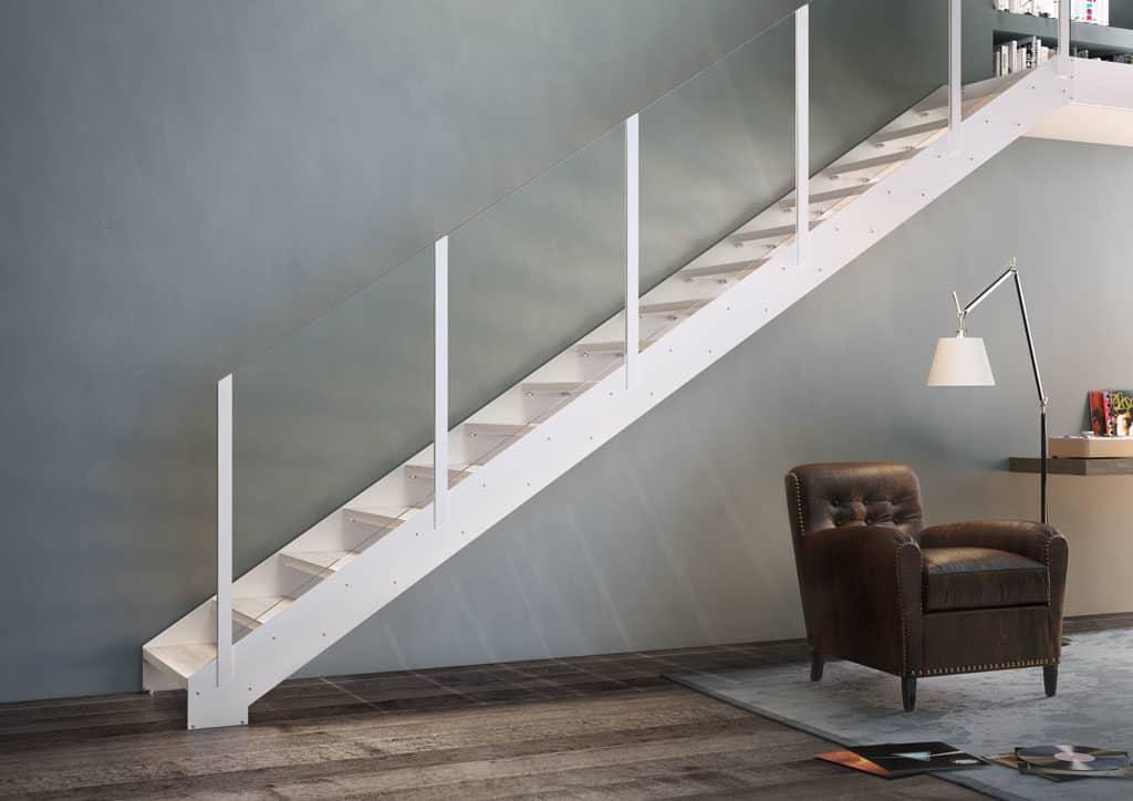 escalier droit contemporain en métal blanc