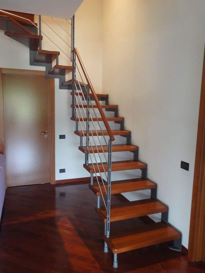escalier quart tournant en bois et métal