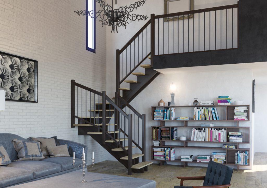 escalier quart tournant en bois très design