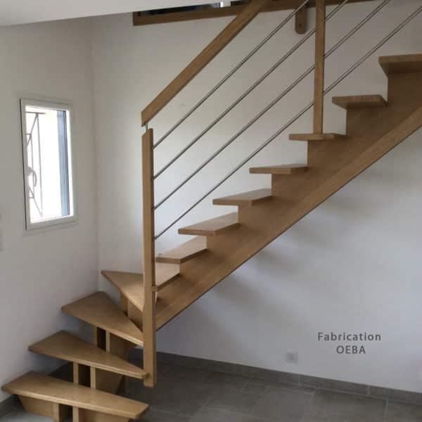 escalier avec double limon en bois - cmonescalier