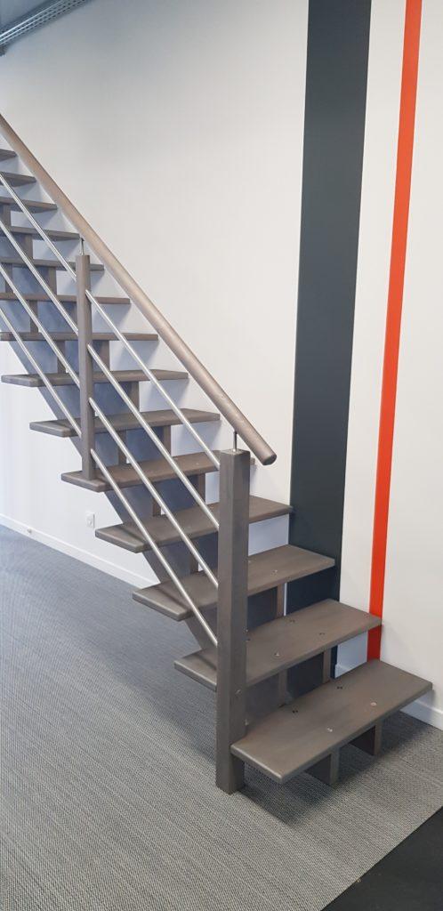 escalier structure en double limon crémaillère en bois