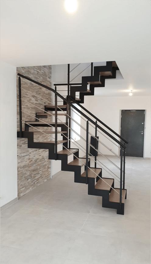 Escalier double quart tournant à droite