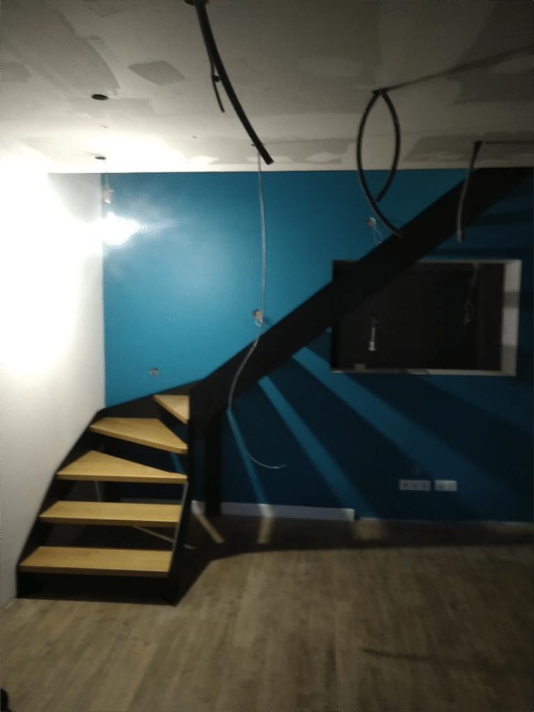 escalier double limons et marche en bois