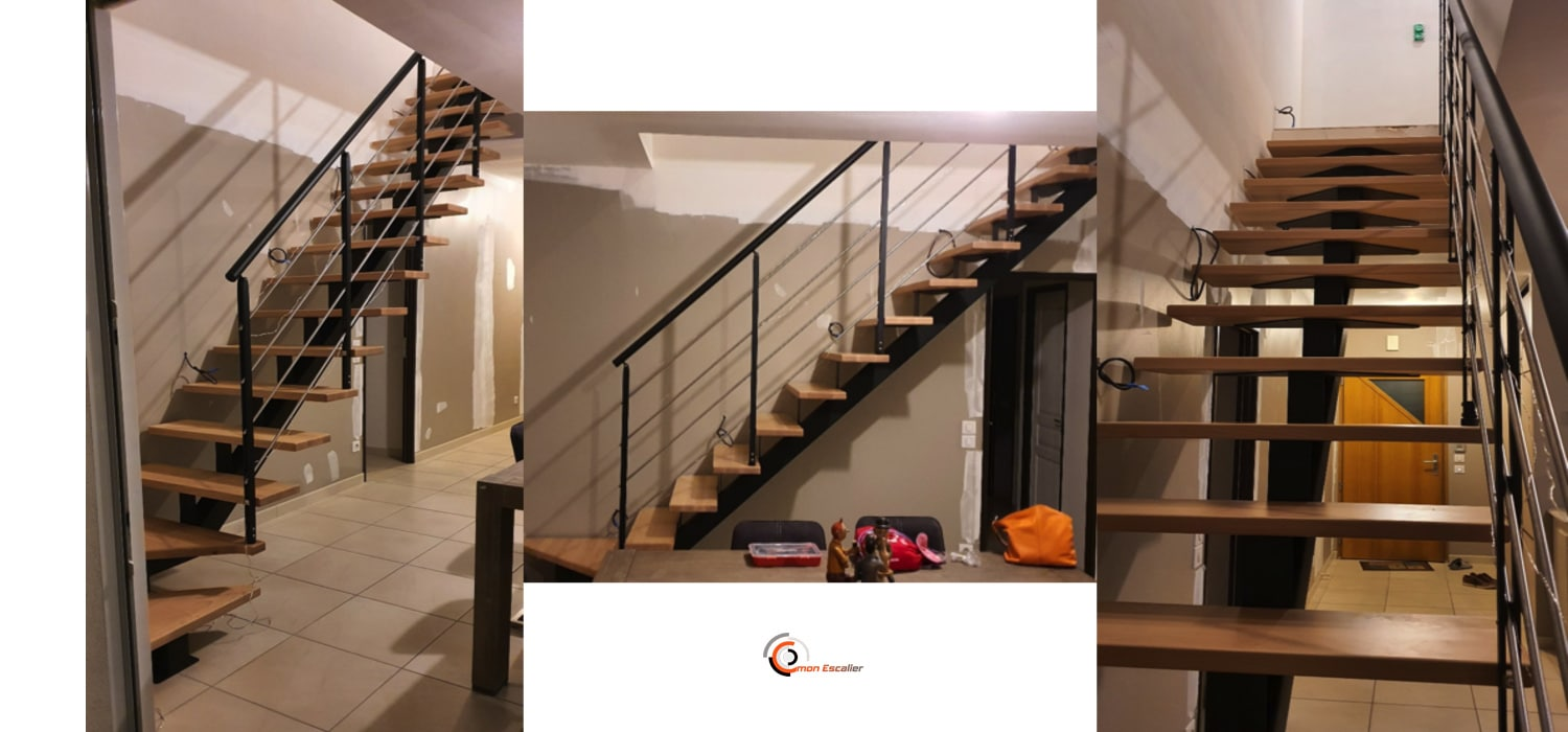 Escalier sur mesure : limon central design